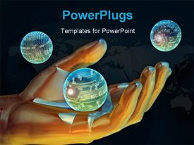 PowerPoint template displaying a large human hand image with three shinning globes
