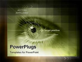 PowerPoint template displaying future technology approves access and identity issues on black background