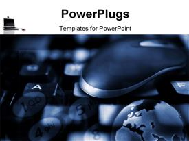 PowerPoint template displaying technology theme with a state-of-art representation of keyboard, mouse and 3D Globe