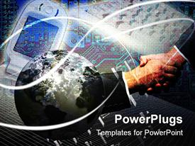 PowerPoint template displaying business and the technology people shaking hands with each other