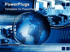 PowerPoint template displaying world Technology abstract background with computer components