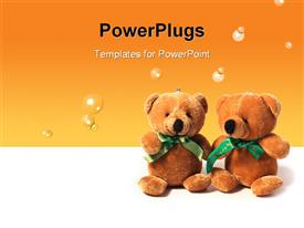 Two funny toy bears sitting together over white powerpoint design layout