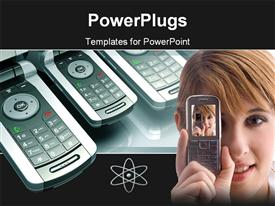 PowerPoint template displaying lots of phones at the background with a lady holding a phone