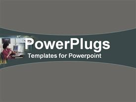 PowerPoint template displaying business woman at workstation in the background.