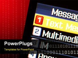 PowerPoint template displaying mobile phone messaging menu with text message selected in the background.