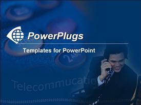 PowerPoint template displaying close up shot of a phone and a business man making a call