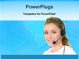 PowerPoint template displaying young woman wearing headphones and microphone with world map on light blue background