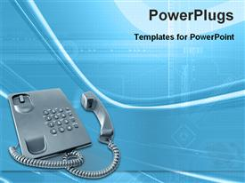 PowerPoint template displaying a telephone of gray color with bluish background and figures