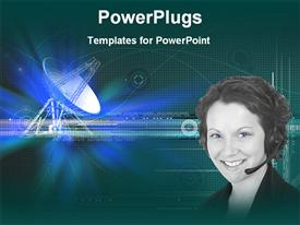 PowerPoint template displaying smiling woman with headphone and microphone with satellite dish