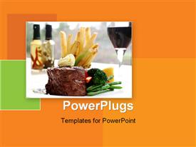 PowerPoint template displaying a delicious served meal of steak, chips and vegetables