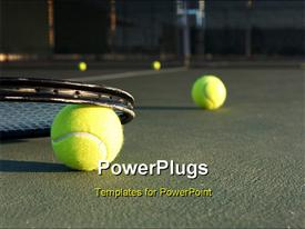 PowerPoint template displaying tennis Balls and Racket on the Court