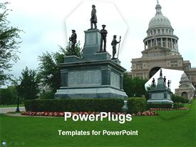 PowerPoint template displaying a historic building and a historic sign in front of it