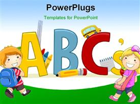 PowerPoint template displaying text Depiction Featuring Letters of the Alphabet - Learning ABCs