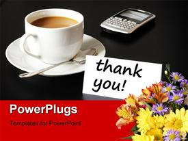 Thank you or thanks concept with cup of coffee powerpoint template
