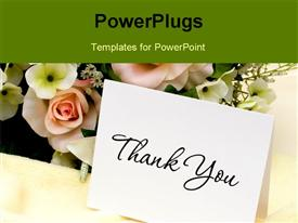 PowerPoint template displaying bouquet of flowers with a thank you card