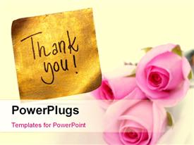 PowerPoint template displaying thank you message handwritten on gold sticker with pink roses