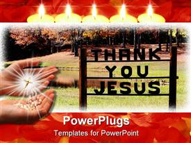 PowerPoint template displaying two hands with shiny rosary and thank you Jesus text