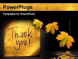 PowerPoint template displaying thank you message handwritten on gold sticker with autumn leaves