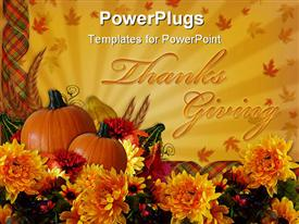 PowerPoint template displaying the celebration of thanks giving with two pumpkins