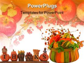 PowerPoint template displaying thanksgiving decoration sign over a white background