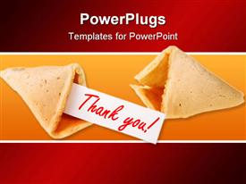 PowerPoint template displaying two fortune cookies, one empty fortune cookie and one fortune cookie with thank you on white paper