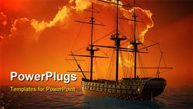Ancient ship in the sea powerpoint design layout