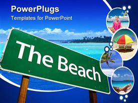 Beach Road Sign - . Includes Clipping Path template for powerpoint