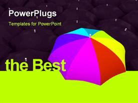 Color umbrella over black powerpoint template