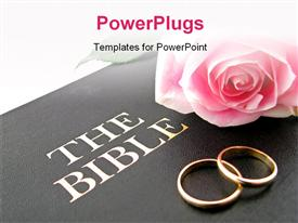 PowerPoint template displaying pink rose and wedding bands on Holy Bible for wedding vows