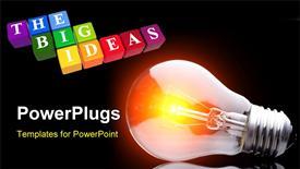 Light bulb on black powerpoint design layout