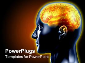 PowerPoint template displaying brain is highlighted with hot color. The concept of intelligence in the background.
