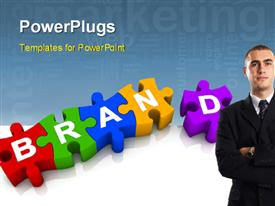 PowerPoint template displaying colorful jigsaw forming the word Brand with marketing keywords in background and businessman in foreground