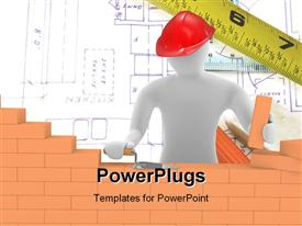 PowerPoint template displaying a construction worker building a wall with design in the background