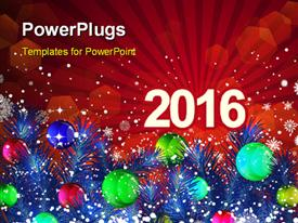 PowerPoint template displaying new Year 2016 with decoration of christmas balls and snowflakes