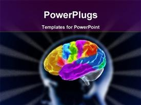 PowerPoint template displaying scan of human head showing brain with many colors