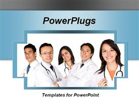 5 young doctors smiling over a light blue and white background template for powerpoint