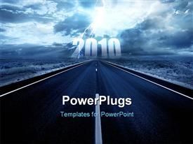 PowerPoint template displaying lightning strike in the darkness above the road in the background.