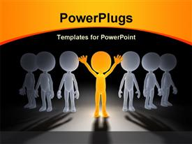 PowerPoint template displaying gold winner in a group. 3D little humans, business concept