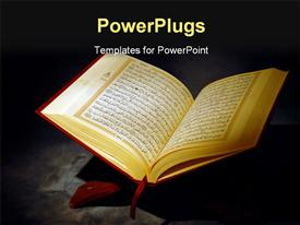 PowerPoint template displaying islamic Holy Quran Colored Depiction with Arabic Text in the background.