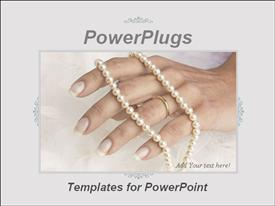 PowerPoint template displaying adult female hand wearing a wedding ring and a jewelry