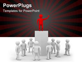 PowerPoint template displaying red figure on top of tall pedestal addressing group of white figures
