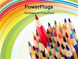 PowerPoint template displaying red pencil - the leader. It is