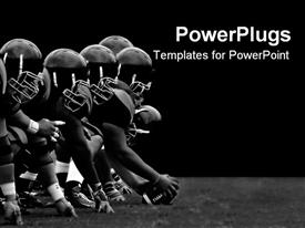 PowerPoint template displaying football players hike black and white teamwork rough play sports athletes