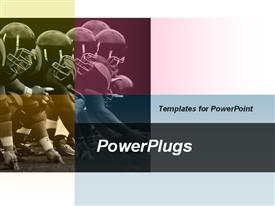 PowerPoint template displaying animated depiction of american football games and football leagues