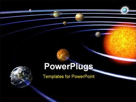 PowerPoint template displaying schematic depiction of the solar system with all the planets