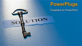 Key laying on a piece of paper with the word solution on it powerpoint design layout