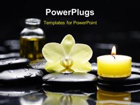 PowerPoint template displaying a reiki concept - three massage stones relax, body, soul and a flower