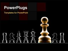 PowerPoint template displaying a number of chess pieces with blackish background