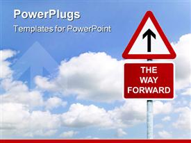 PowerPoint template displaying a beautiful depiction of a sign of going ahead with clouds in the background