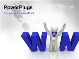 PowerPoint template displaying person with a first place medal stands with arms raised in the word Win